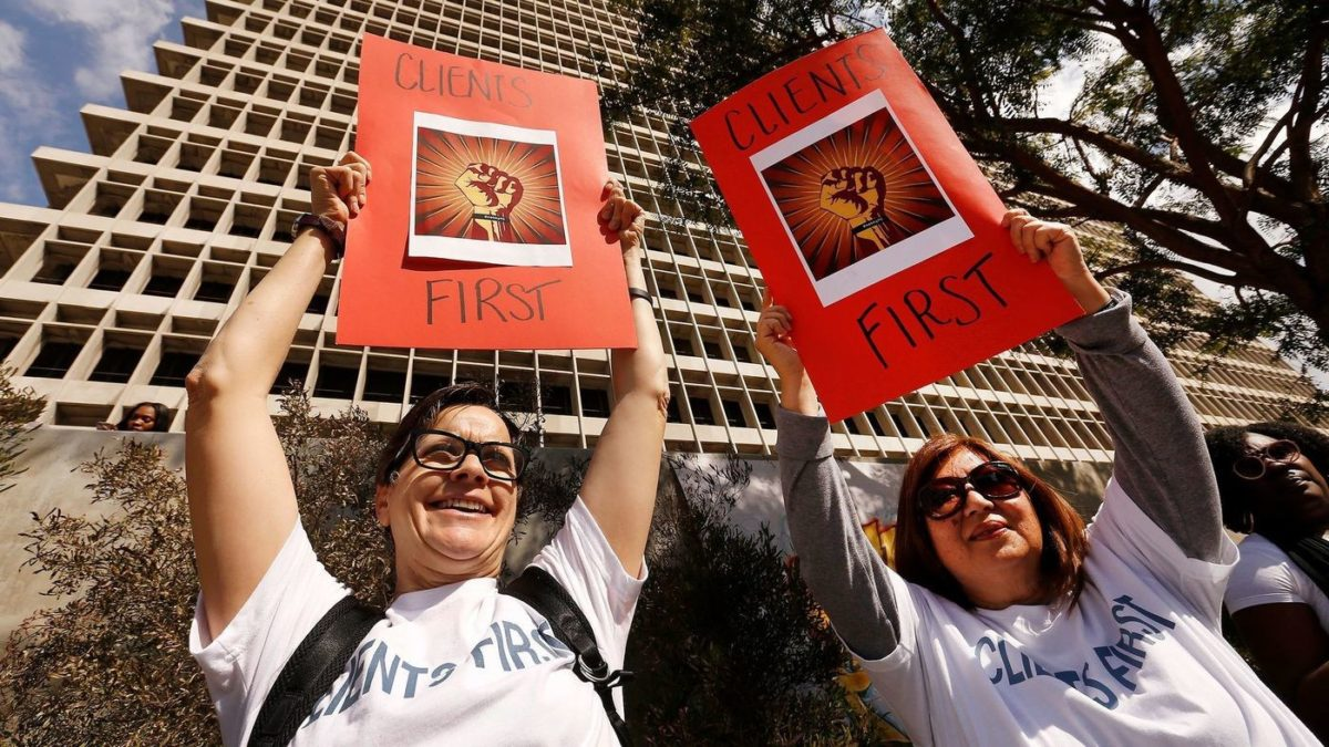 L.A. County attorneys who represent indigent clients in criminal court protest their new boss