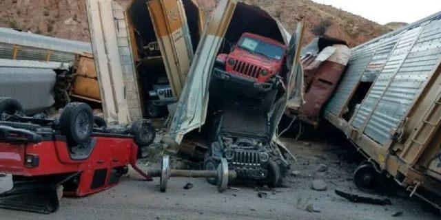 Nevada train derailment wrecks dozens of new cars, pickup trucks