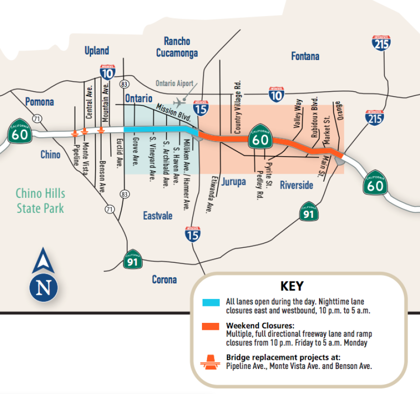 The 60 Freeway will be closed for 15 weekends starting next week