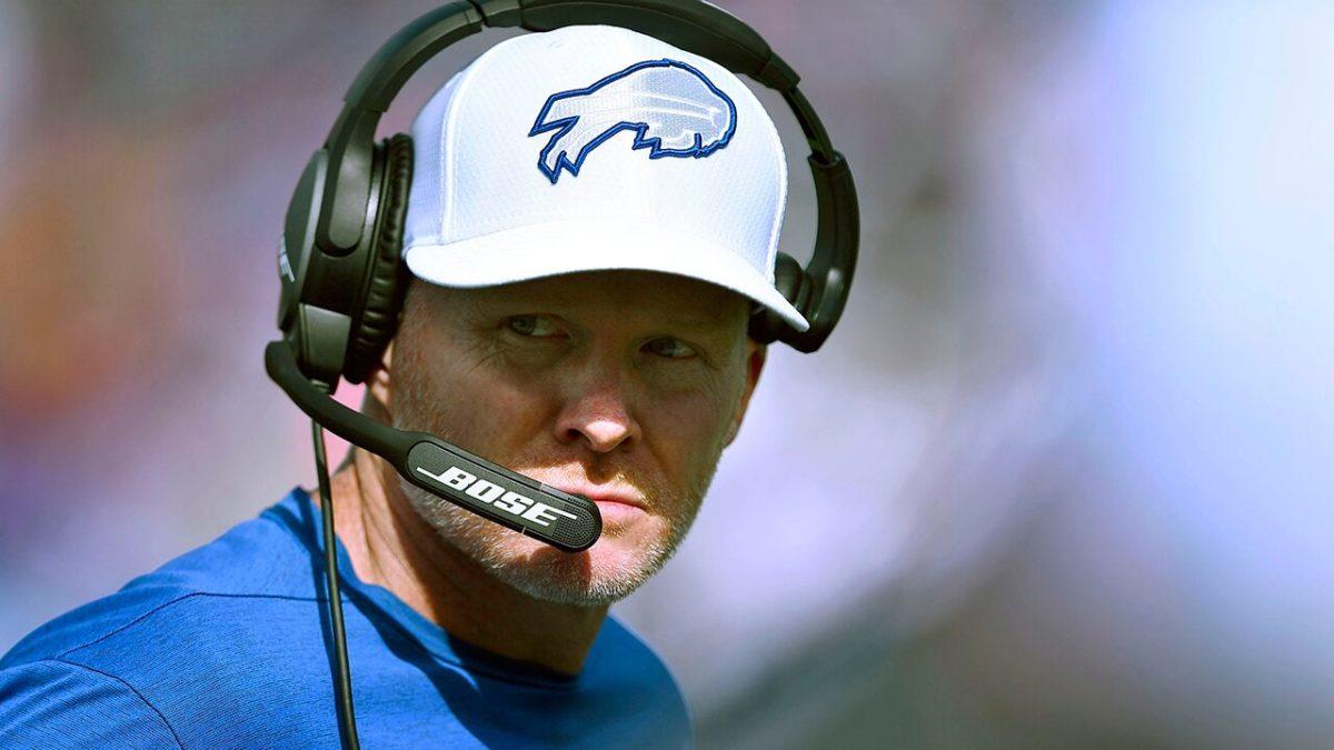 Buffalo Bills' Sean McDermott escorts New England Patriots staffers off field, including Bill Belichick's son