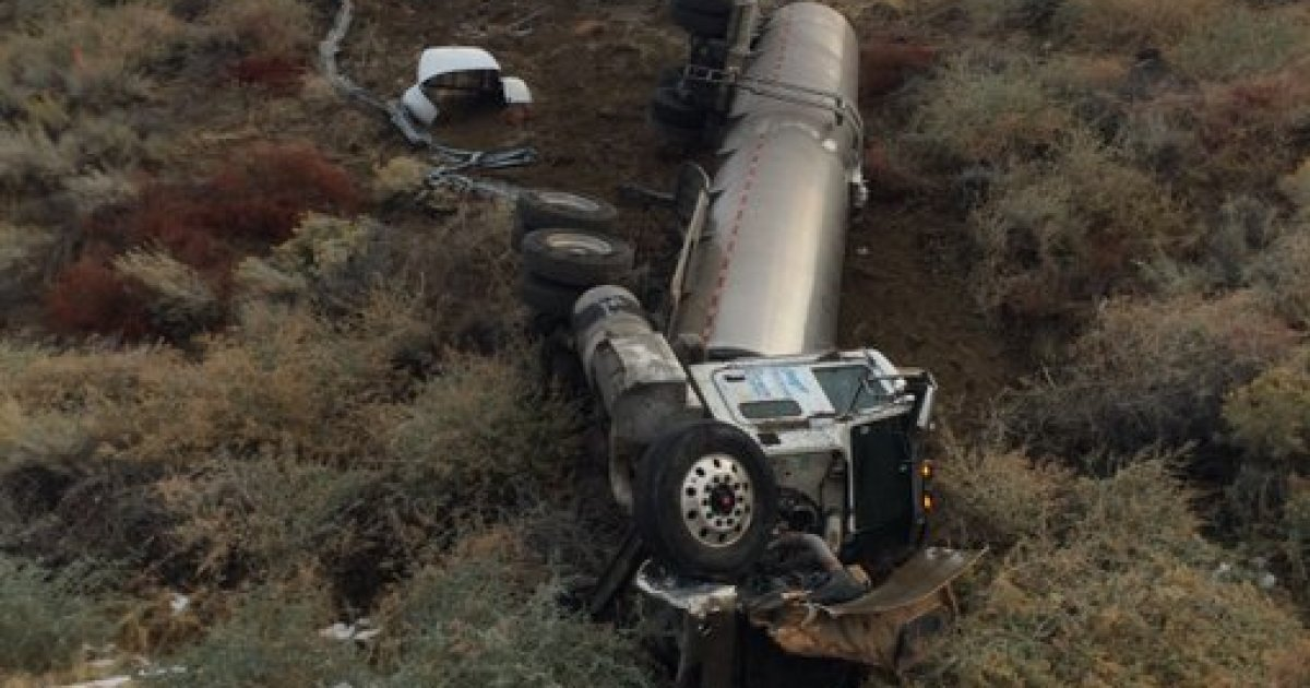 Truck hauling 6,000 pounds of condensed milk on Interstate 5 overturns at Lebec