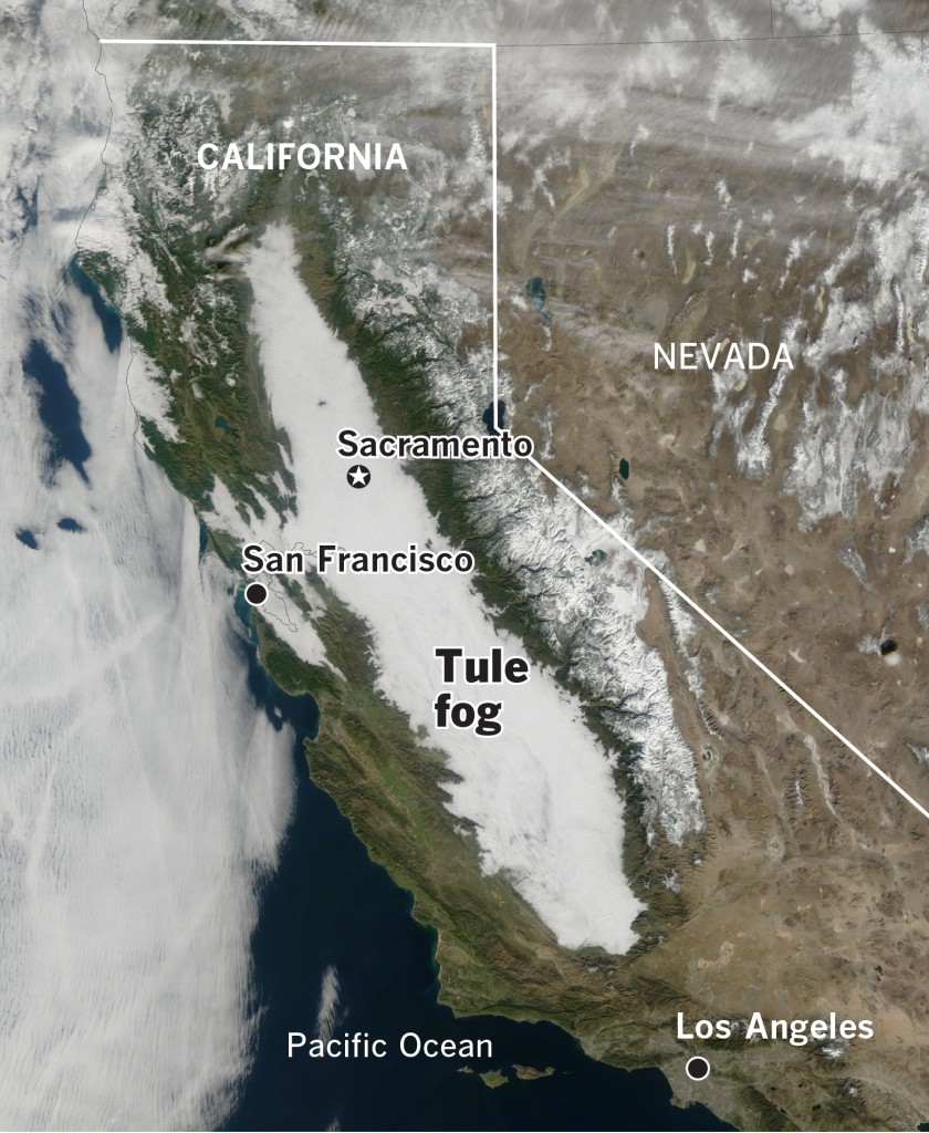 What causes dangerous tule fog in California's Central Valley, and why is it becoming less common?